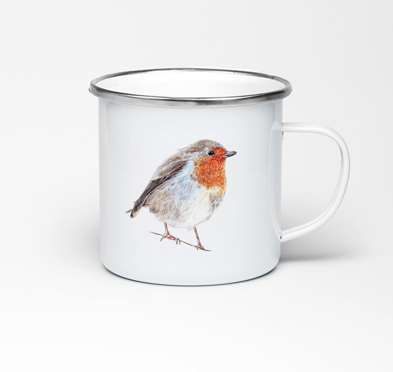 Emailletasse mit Vogelprint Emaillebecher Tasse Rotkehlchen
