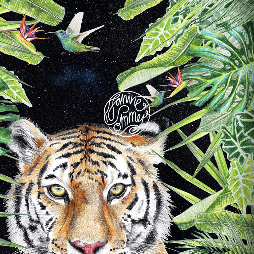 Tiger nachts im Dschungel Poster Kunstdruck A4 Tiger Zeichnung