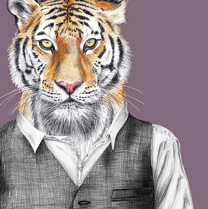Zeichnung Tiger, Poster, Kunstdruck, A4