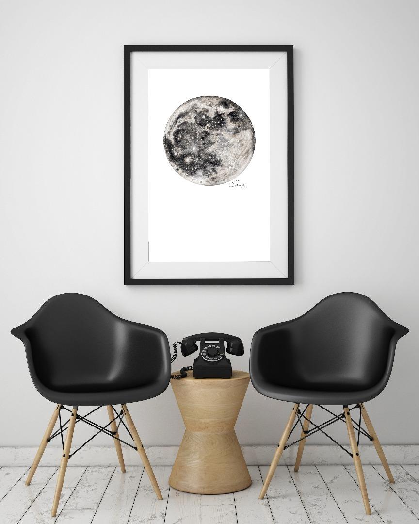 Mond Zeichnung Poster Kunstdruck A4