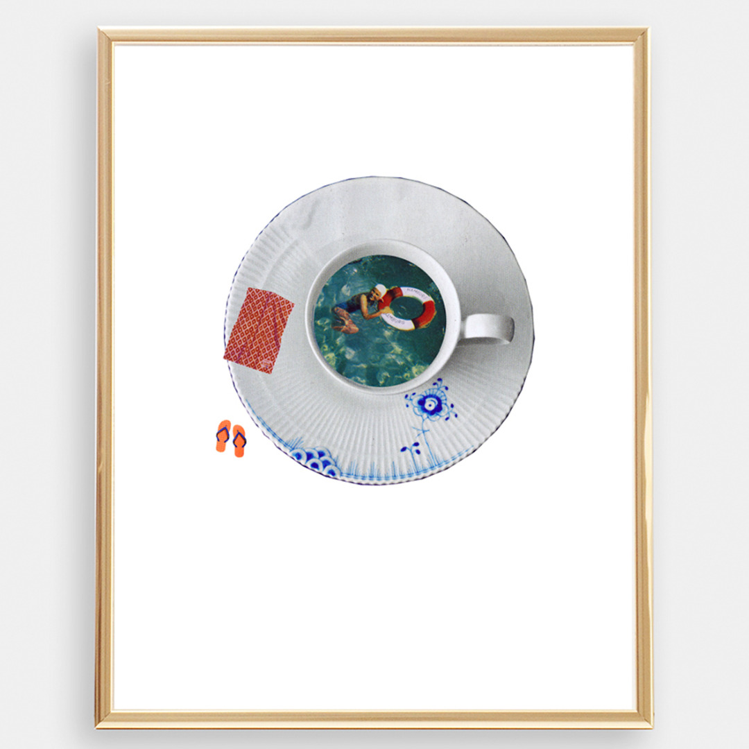 Sommer in Hamburg Collage Poster Kunstdruck A4