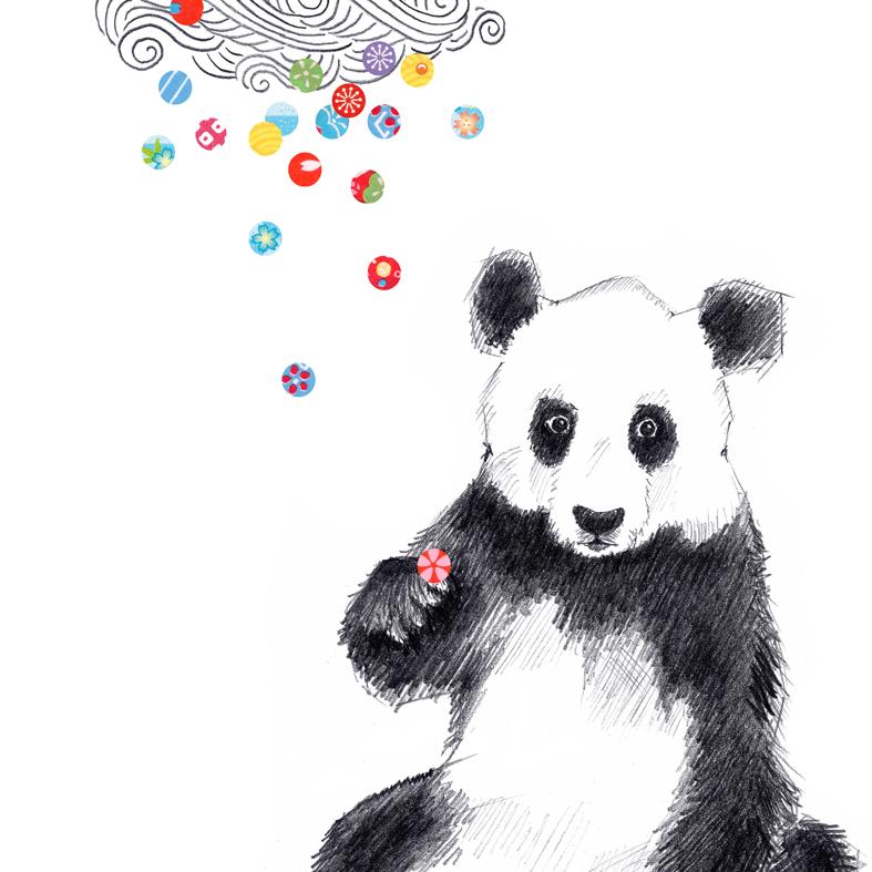 Zeichnung Panda Konfetti Poster Kunstdruck A4
