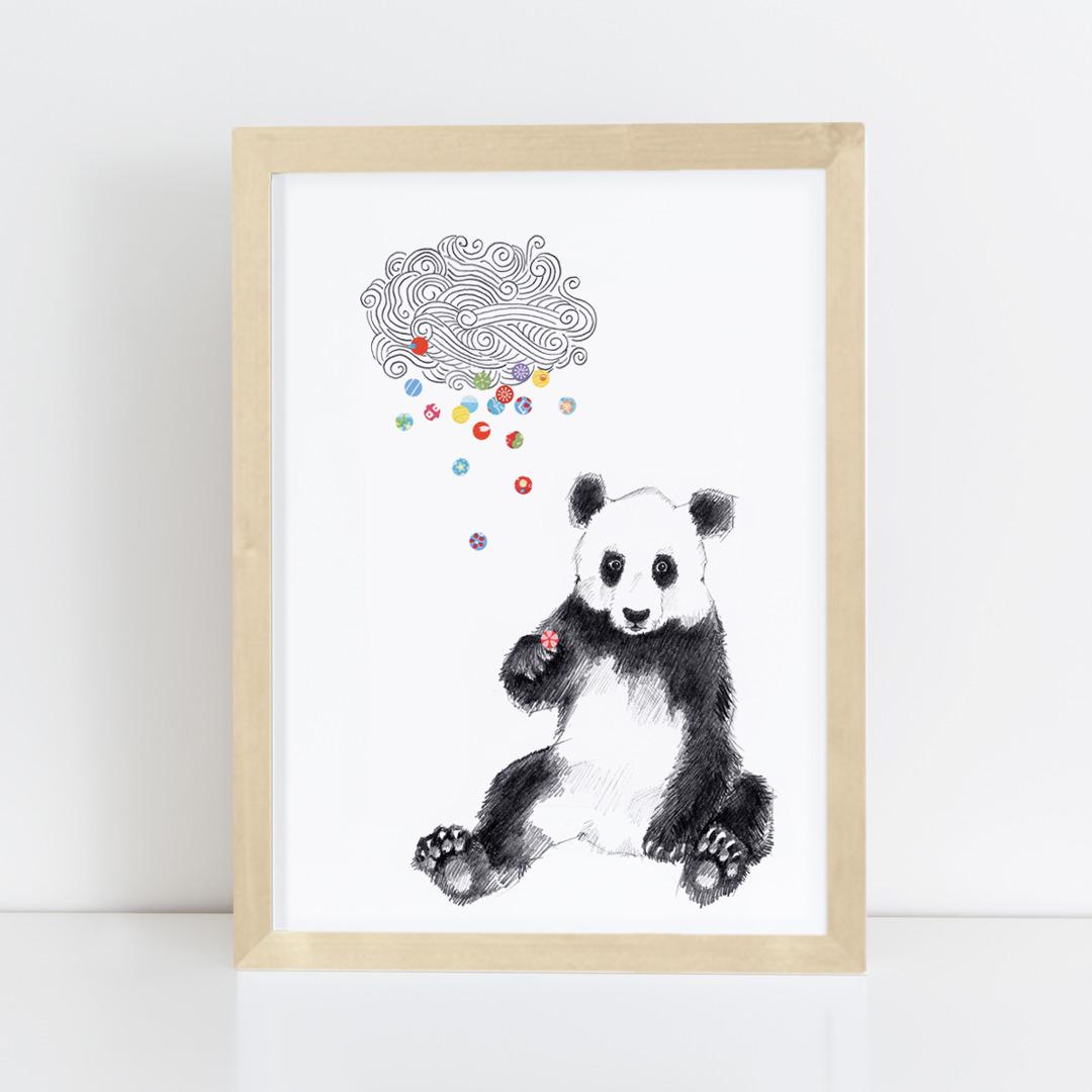 Zeichnung Panda Konfetti, Poster, Kunstdruck, A4 - 4