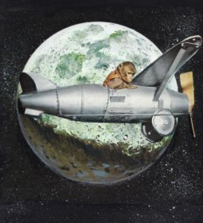 Space Monkey Poster Kunstdruck mit Mond A3
