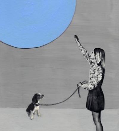 Blue Moon Poster mit Mond Kunstdruck A3