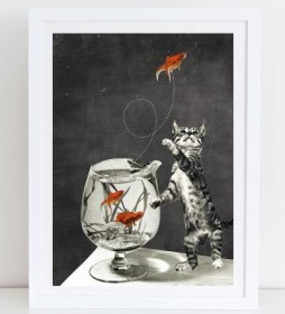 Goldfischglas Collage Poster Kunstdruck A4