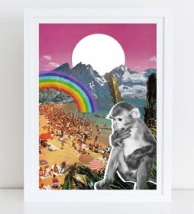 Waikiki Collage Poster Kunstdruck A4