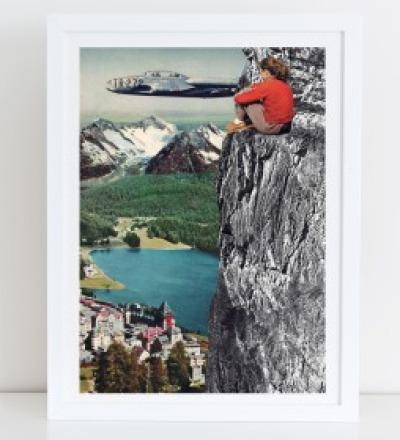 Aussicht Collage Poster Kunstdruck A4