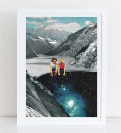 Abgrund Collage Poster Kunstdruck A4