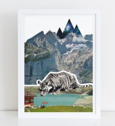 Tiger Collage Poster Kunstdruck A4