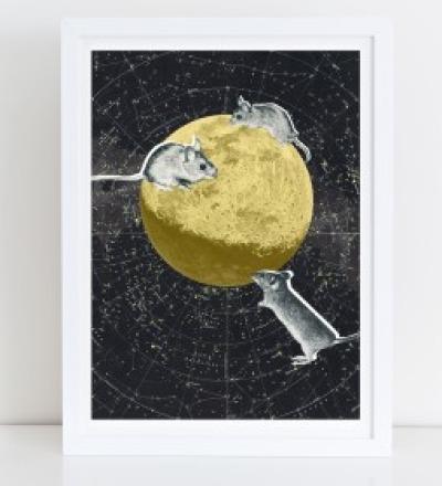 Maeuse auf dem Mond Collage Poster Kunstdruck A4