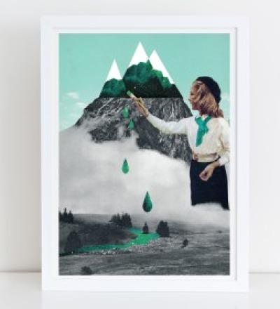 Malerei Collage Poster Kunstdruck A4