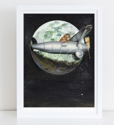 Space Monkey Collage Poster Kunstdruck A4