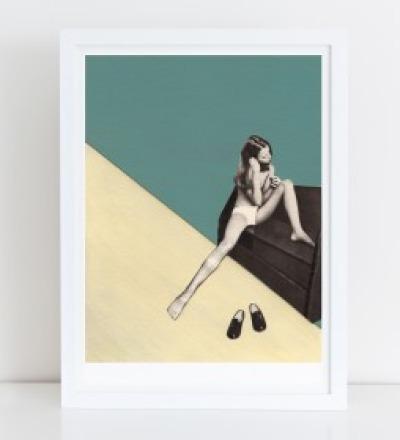Maedchen mit Haarbuerste Collage Poster Kunstdruck A4