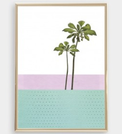 Palme 01 Collage Poster Palme Kunstdruck Palmenposter Pflanzenposter
