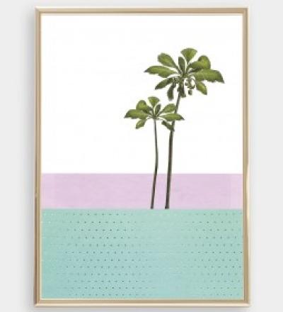 Palme Collage Poster Palme Kunstdruck Palmenposter