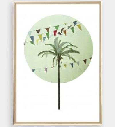 Palme 02 Collage Poster Palme Kunstdruck Palmenposter Pflanzenposter - Collage