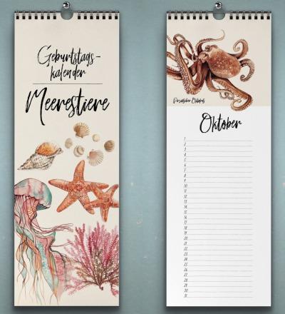 Geburtstagskalender Meerestiere Wandkalender Kunstkalender Buntstiftzeichnungen von