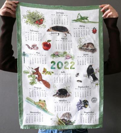Kalender Geschirrtuch Küchenhandtuch Tea Towel Leinen