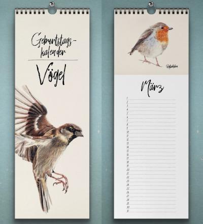 Geburtstagskalender Vögel Wandkalender Kunstkalender Buntstiftzeichnungen von