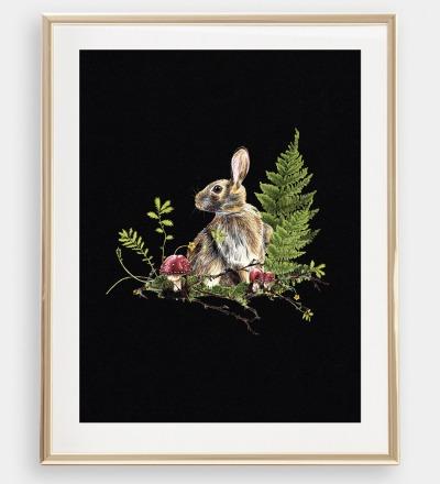 Hase im Wald , Poster, Kunstdruck, A4, Buntstiftzeichnung