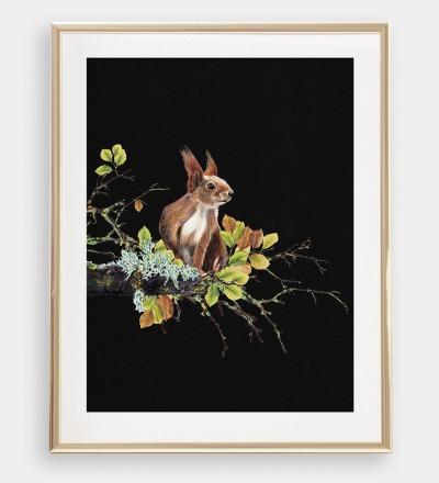 Eichhörnchen auf dem Ast , Poster, Kunstdruck, A4, Buntstiftzeichnung
