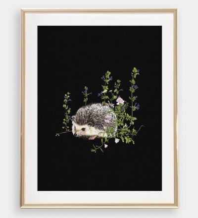 Igel im Wald , Poster, Kunstdruck, A4, Buntstiftzeichnung