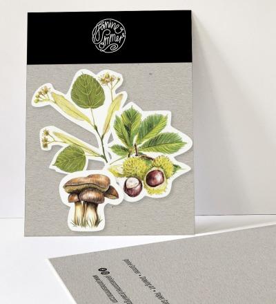 3 Sticker Blätter, Aufkleber Kastanien, Pilz, Lindenblatt - Outdooraufkleber, vegan
