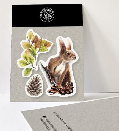 3 Sticker Eichhörnchen, Herbstblätter und Tannenzapfen, Aufkleber - Outdooraufkleber, vegan