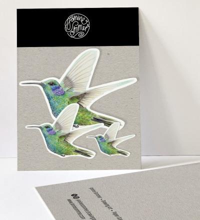 3 Sticker, Kolibri, Aufkleber - Outdooraufkleber, vegan