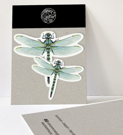 2 Sticker Libellen, Aufkleber - Outdooraufkleber, vegan