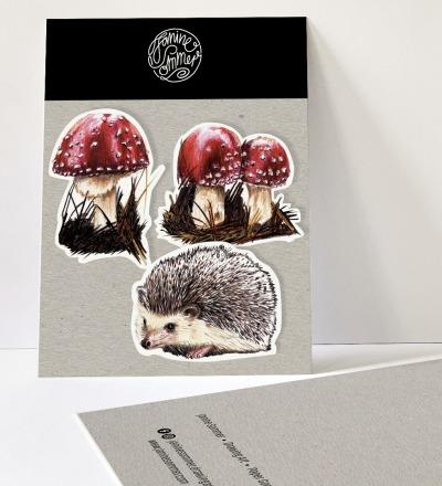 3 Sticker, Fliegenpilze & Igel, Aufkleber - Outdooraufkleber, vegan