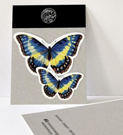2 Sticker Schmetterlinge blau, Aufkleber - Outdooraufkleber, vegan