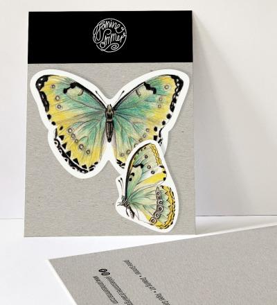 2 Sticker Schmetterlinge grün/gelb, Aufkleber - Outdooraufkleber, vegan
