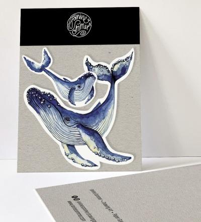 2 Sticker Wale, Aufkleber - Outdooraufkleber, vegan