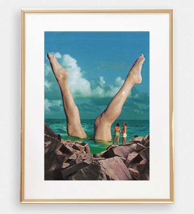 Schoene Beine Collage Poster Kunstdruck A4
