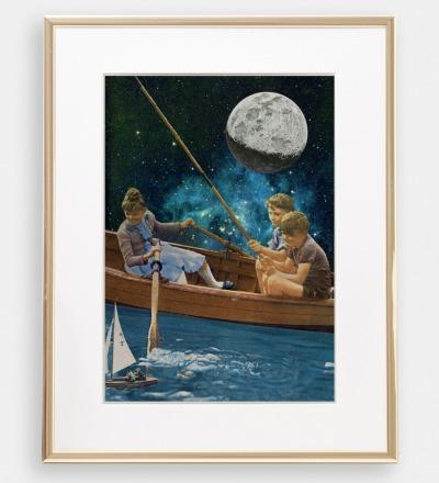 Bootsfahrt im Mondschein Collage Poster Kunstdruck A4 - Collageart