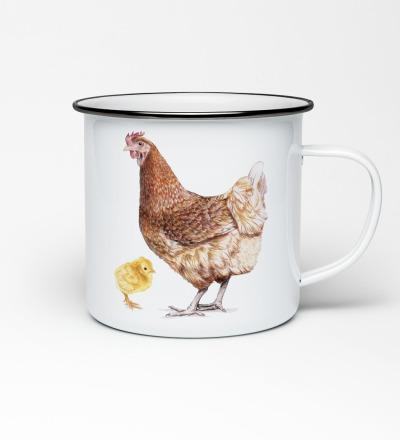 Emailletasse mit Vogelprint Emaillebecher Tasse Huhn mit Küken Hühnertasse Becher mit Huhn - Vorbestellung Liefertermin Ende April