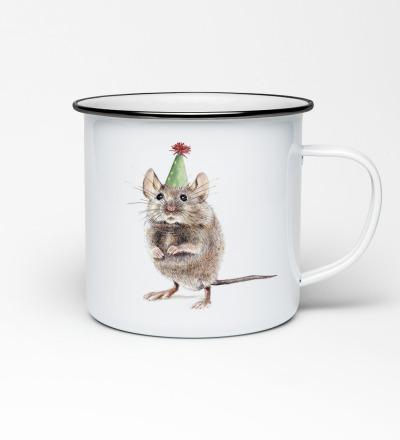 Emailletasse mit Mausprint Emaillebecher Tasse Maus Partymaus - Vorbestellung Liefertermin Ende April