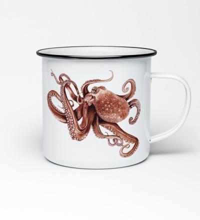 Emailletasse mit Octopusprint Emaillebecher Tasse Octopus Krake - Vorbestellung Liefertermin Ende April