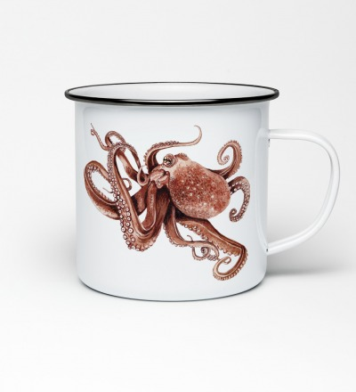 Emailletasse mit Octopusprint Emaillebecher Tasse Octopus Krake