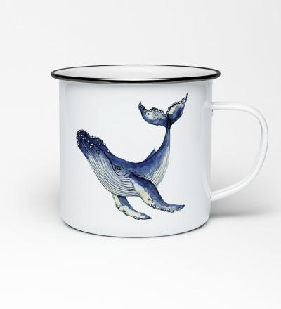 Emailletasse mit Walprint Emaillebecher Tasse Wal