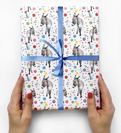3 Boegen Geschenkpapier Partyesel - je 50 x 70 cm