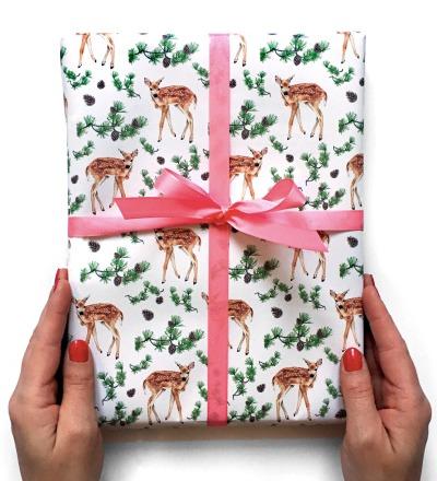 3 Bögen Geschenkpapier Rehlein - je