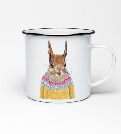 Emailletasse mit Eichhörnchenprint Emaillebecher Tasse Eichörnchen
