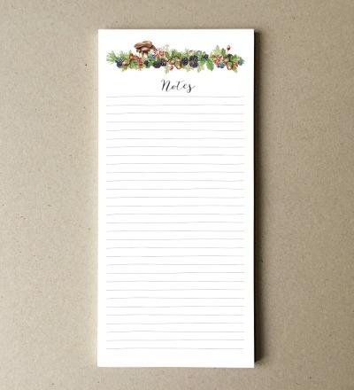 Notizblock DIN lang Fruechte des Waldes - 50 Blatt Naturpapier creme
