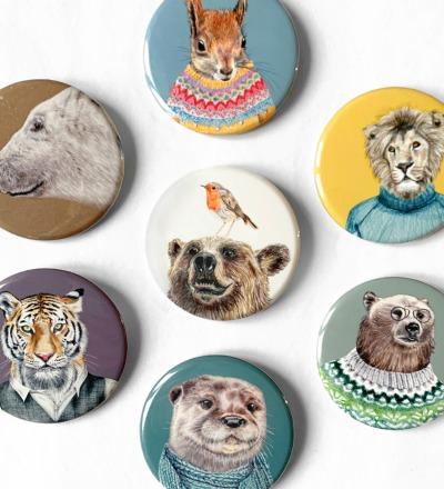großer Pin Anstecker Tier-Porträts Motive zur