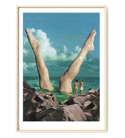 Collage Schöne Beine Poster Collageposter Kunstdruck - Collage aus Magazinen der 50ziger & 60ziger Jahre