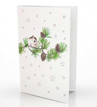 Grusskarte Maus auf Kiefernzweig Klappkarte