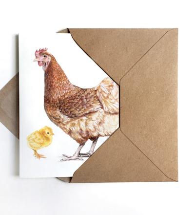 Grußkarte Huhn mit Küken Osterkarte Ostergußkarte